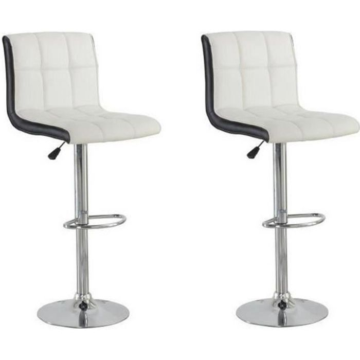 Joker Lot De 2 Tabourets De Bar Simili Blanc Et Noir Style