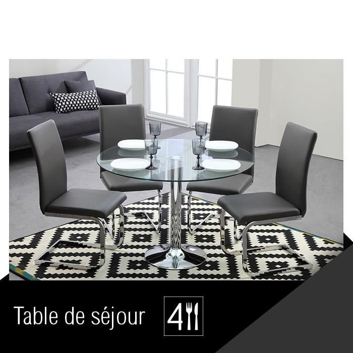 brooklyn table de s jour ronde pi tement chrom achat. Black Bedroom Furniture Sets. Home Design Ideas