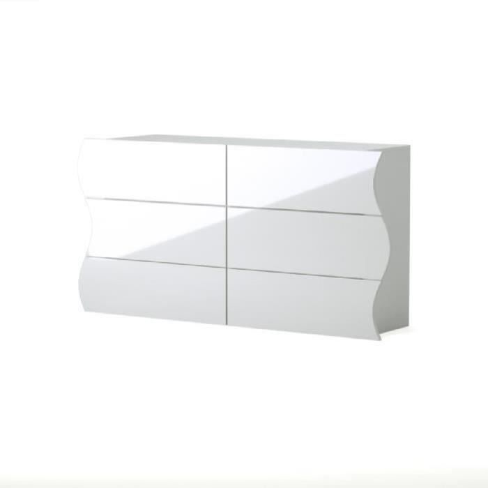 Onda commode style contemporain blanc laqu brillant l Commode blanc laque