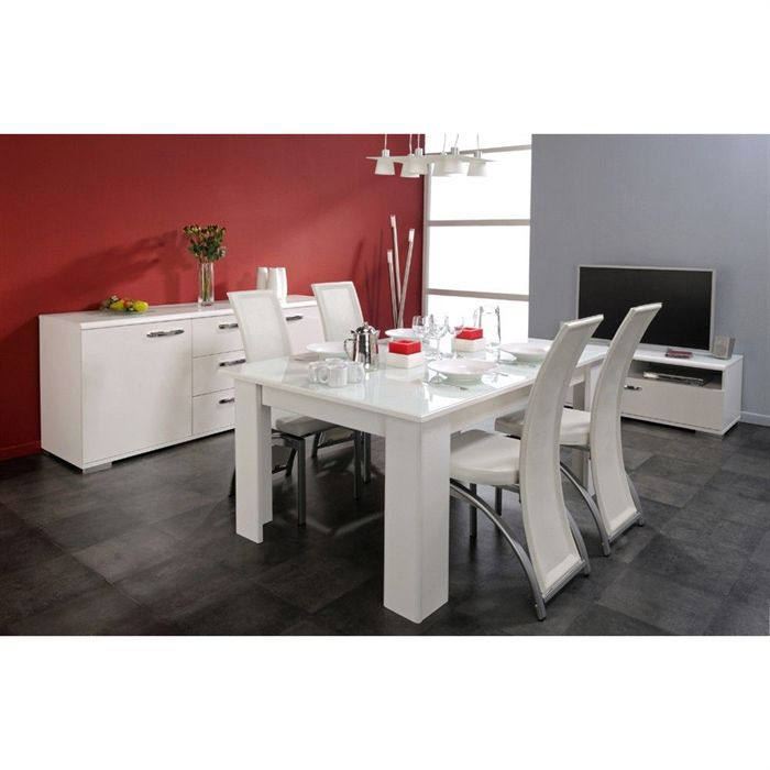 shine salle manger 7 pi ces coloris blanc meg ve brillant achat vente salon complet. Black Bedroom Furniture Sets. Home Design Ideas