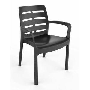 FAUTEUIL JARDIN  Lots de 4 fauteuil Empilable BORNEO - Gris anthrac