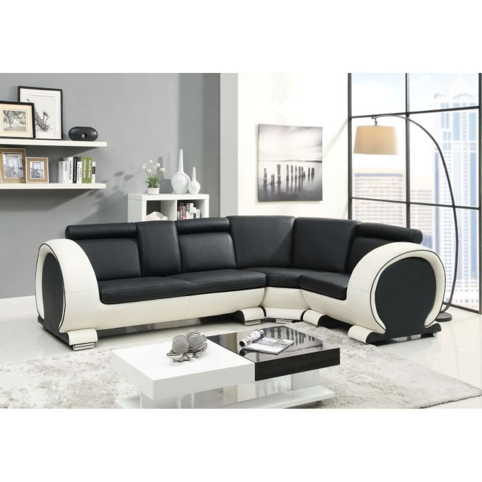 austin canap en cro te de cuir 5 places 190x108x90 cm noir et blanc achat vente canap. Black Bedroom Furniture Sets. Home Design Ideas