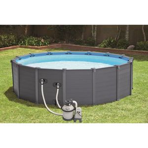 PISCINE INTEX Kit piscine en résine - graphite - Ø4,78 x H