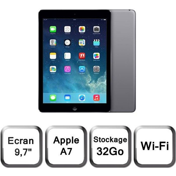 apple ipad air 32go wi fi gris sid ral prix pas cher soldes cdiscount. Black Bedroom Furniture Sets. Home Design Ideas