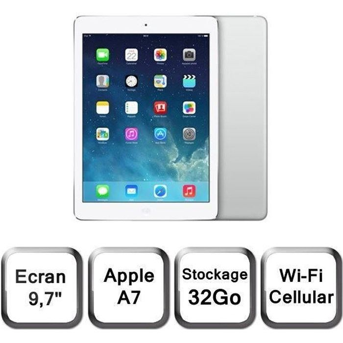 ipad air cellular wi fi argent 32go md795nf b prix pas cher cdiscount. Black Bedroom Furniture Sets. Home Design Ideas