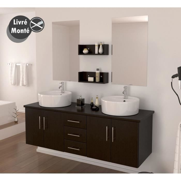 diva salle de bain compl te double vasque 150 cm d cor weng achat vente salle de bain. Black Bedroom Furniture Sets. Home Design Ideas