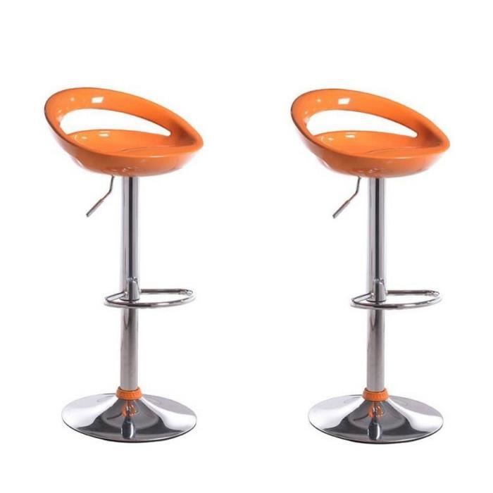moon lot 2 tabourets de bar orange achat vente. Black Bedroom Furniture Sets. Home Design Ideas