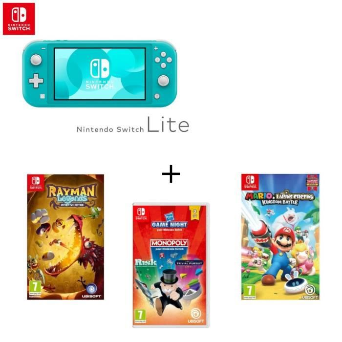 Pack Nintendo Switch Lite Turquoise Jeu Swtich Mario The Lapins Cretins Rayman Legends Definitive Edition Hasbro Game Night