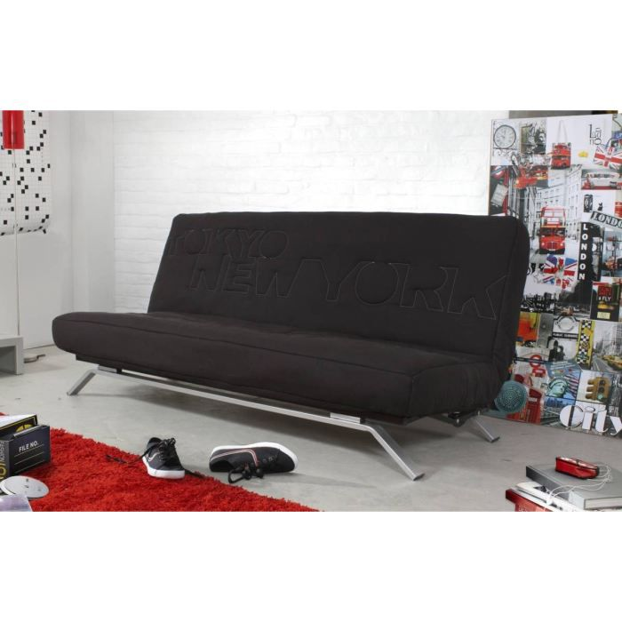 letter banquette clic clac avec matelas dunlopillo achat vente clic clac polyester bois. Black Bedroom Furniture Sets. Home Design Ideas