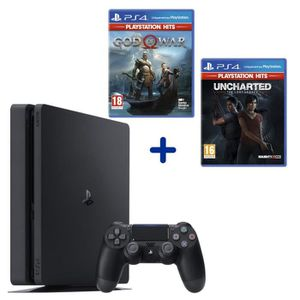 CONSOLE PS4 PS4 Slim 500 Go Noire + God of War HITS + Uncharte