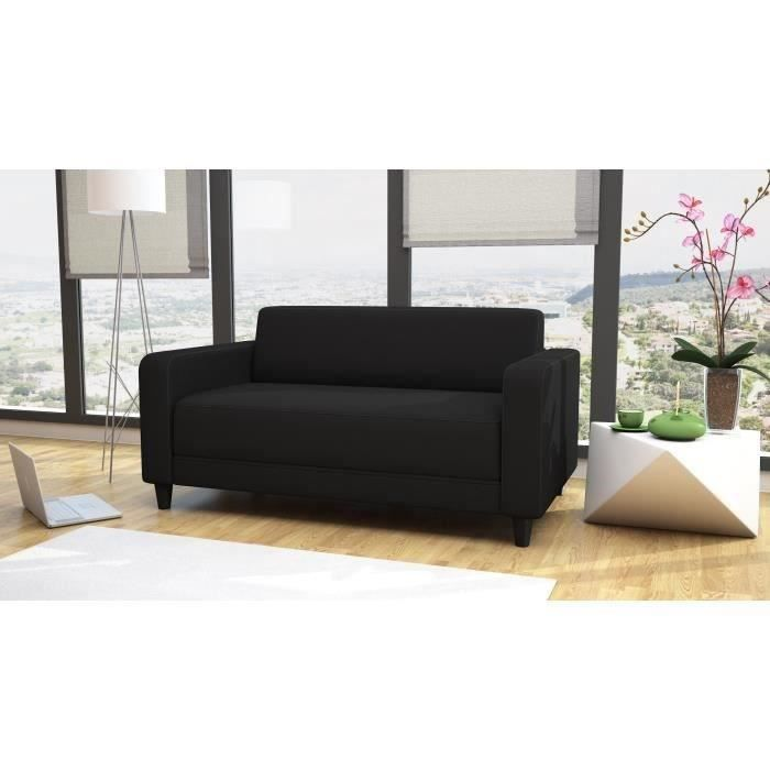 finlandek canap convertible aula 2 places tissu 146x81x71 cm noir achat vente canap. Black Bedroom Furniture Sets. Home Design Ideas