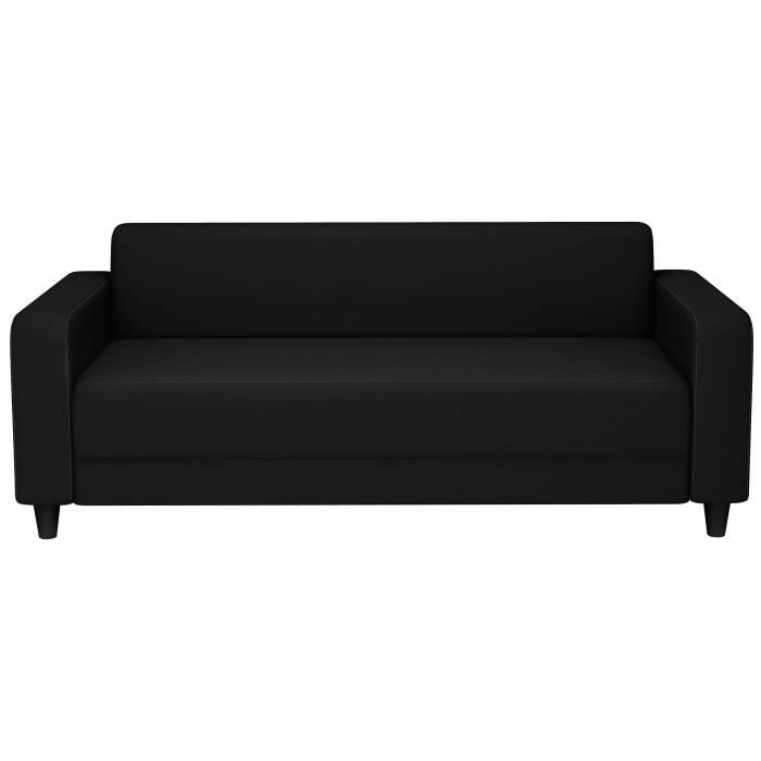 finlandek canap fixe kolme 3 places tissu 180x79x70 cm noir achat vente canap sofa. Black Bedroom Furniture Sets. Home Design Ideas