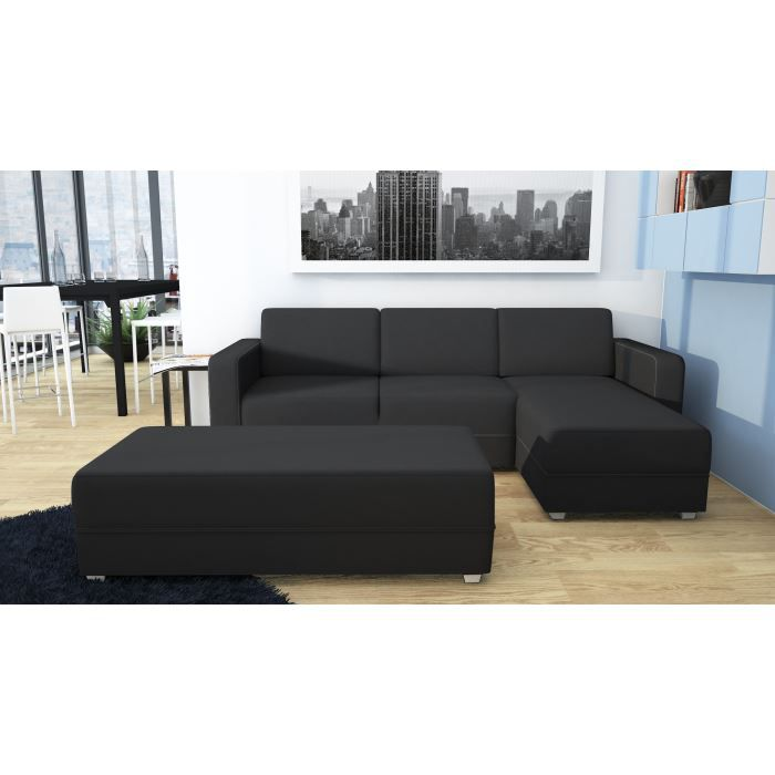 hill canap d 39 angle r versible banc 4 places 228x140x79 cm tissu et simili noir achat. Black Bedroom Furniture Sets. Home Design Ideas