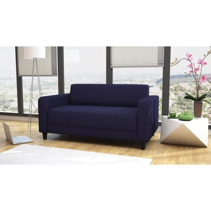 aula canap droit convertible lit 2 places deplimousse bleu achat vente canap sofa. Black Bedroom Furniture Sets. Home Design Ideas