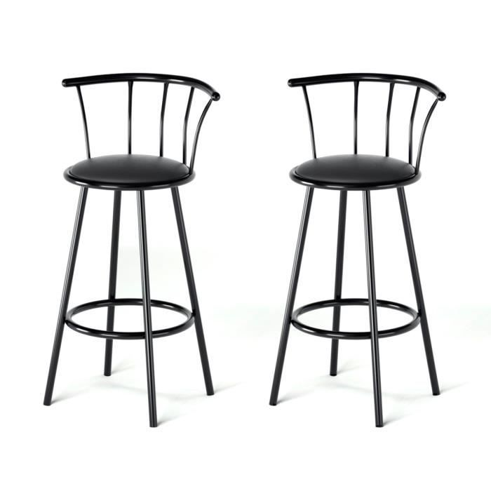 bistrot lot de 2 tabourets de bar avec assise pivotante noir achat vente tabouret de bar. Black Bedroom Furniture Sets. Home Design Ideas