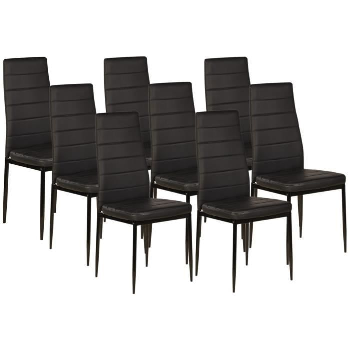 vogue lot de 8 chaises de salle manger noire achat vente chaise cdiscount. Black Bedroom Furniture Sets. Home Design Ideas