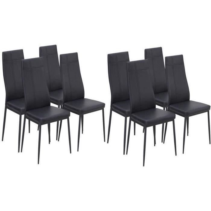 mat lot de 8 chaises de salle manger en simili noir. Black Bedroom Furniture Sets. Home Design Ideas