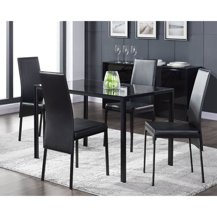 balto ensemble table manger en verre 4 personnes 120x75 cm 4 chaises en simili laqu noir. Black Bedroom Furniture Sets. Home Design Ideas