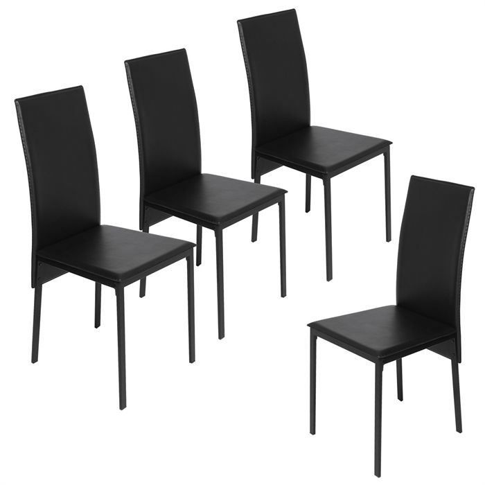 lot de 4 chaises de salle manger lindsay achat vente chaise pvc m tal. Black Bedroom Furniture Sets. Home Design Ideas