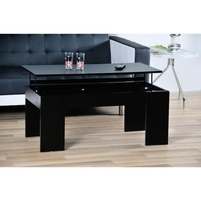Open table basse transformable plateau relevable noir for Table basse scandinave plateau relevable
