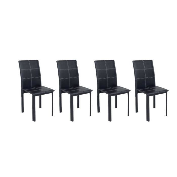 ruby lot de 4 chaises de salle manger noires achat vente chaise rev tement pvc structure. Black Bedroom Furniture Sets. Home Design Ideas