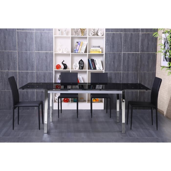 Table extensible 140 220 chrome verre noir max meubles for Table verre noir extensible