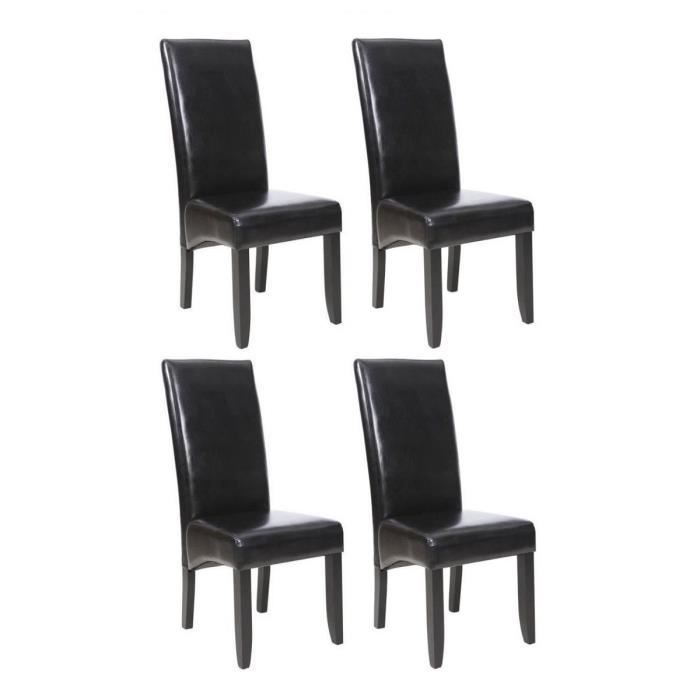 cuba lot de 4 chaises de salle manger noires achat vente chaise cdiscount. Black Bedroom Furniture Sets. Home Design Ideas