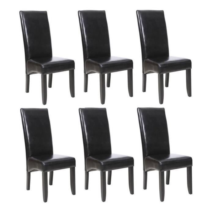 cuba lot de 6 chaises de salle manger noires achat vente chaise cdiscount. Black Bedroom Furniture Sets. Home Design Ideas