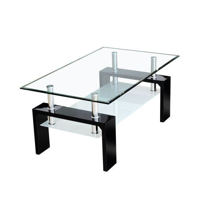 Sofia table basse laqu e noire plateau verre achat vente table basse so - Table basse de salon en verre ...