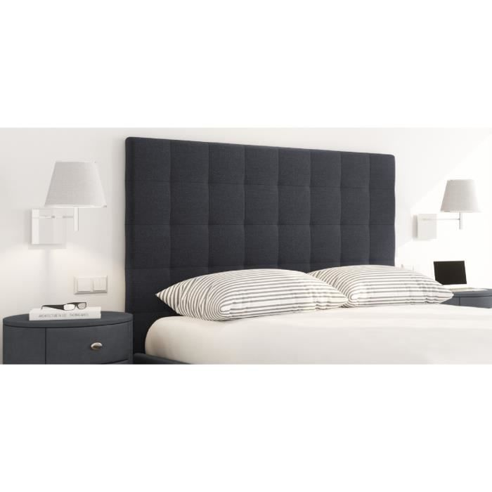 sogno t te de lit capitonn e style contemporain tissu noir l 140 cm achat vente t te de. Black Bedroom Furniture Sets. Home Design Ideas