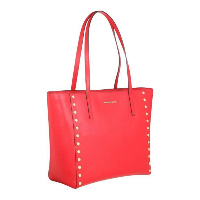 MICHAEL KORS - RIVINGTON Sac cabas en cuir clouté rouge - Femme ...