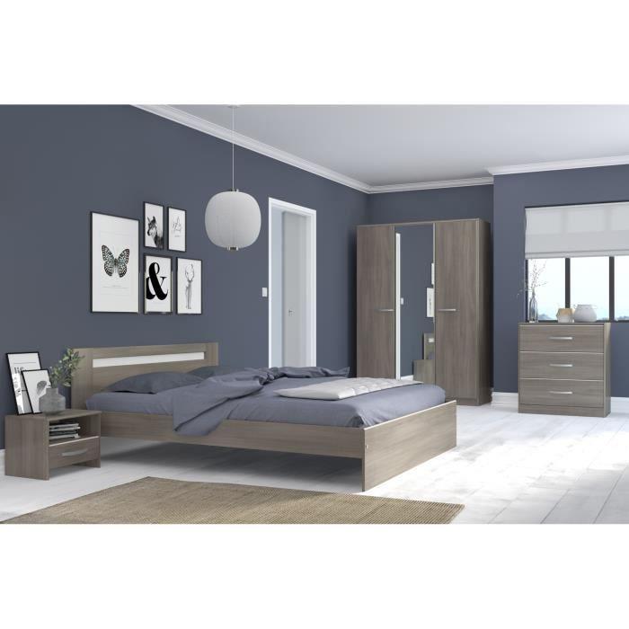 YSA Chambre complète adulte - Contemporain - Décor noyer silver - l 160 x L  200 cm