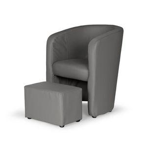 FAUTEUIL NUNO Fauteuil cabriolet + pouf en simili gris - L