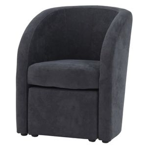 FAUTEUIL TED Fauteuil + pouf Soro gris anthracite