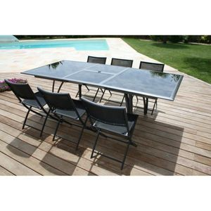 salon de jardin table extensible achat vente salon de. Black Bedroom Furniture Sets. Home Design Ideas