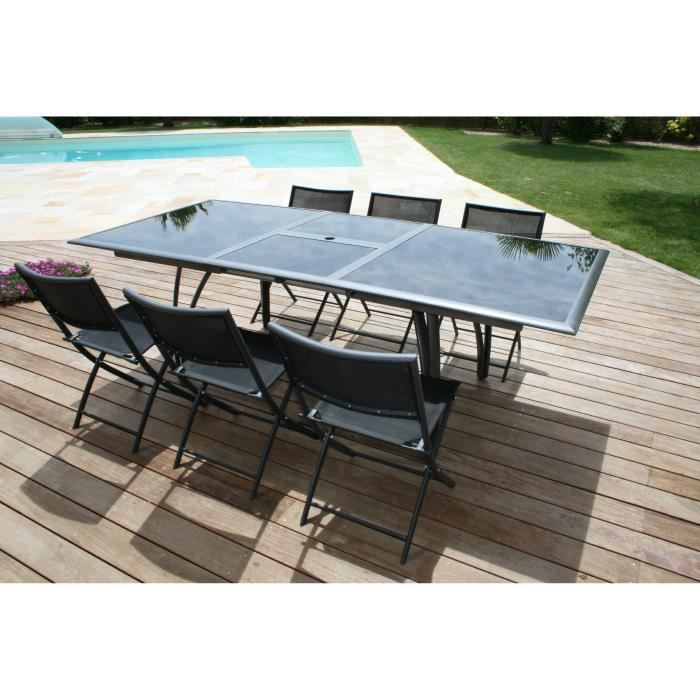 Ensemble table extensible de jardin 180 240 cm 6 for Chaises pliantes de jardin