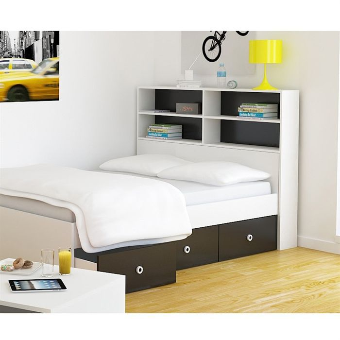 study t te de lit adulte 140 cm blanc noir achat vente t te de lit study t te de lit 140 cm. Black Bedroom Furniture Sets. Home Design Ideas