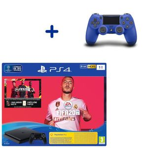 CONSOLE PS4 Pack Console PS4 Slim 1To Noire + Fifa 20 + Manett