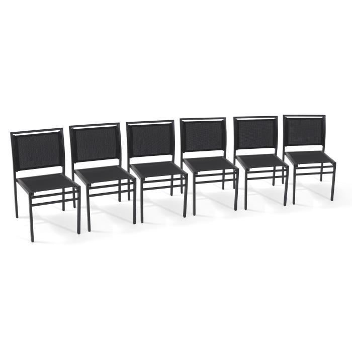 lot de 6 chaises de jardin aluminium et textil ne noir achat vente fauteuil jardin lot de 6. Black Bedroom Furniture Sets. Home Design Ideas