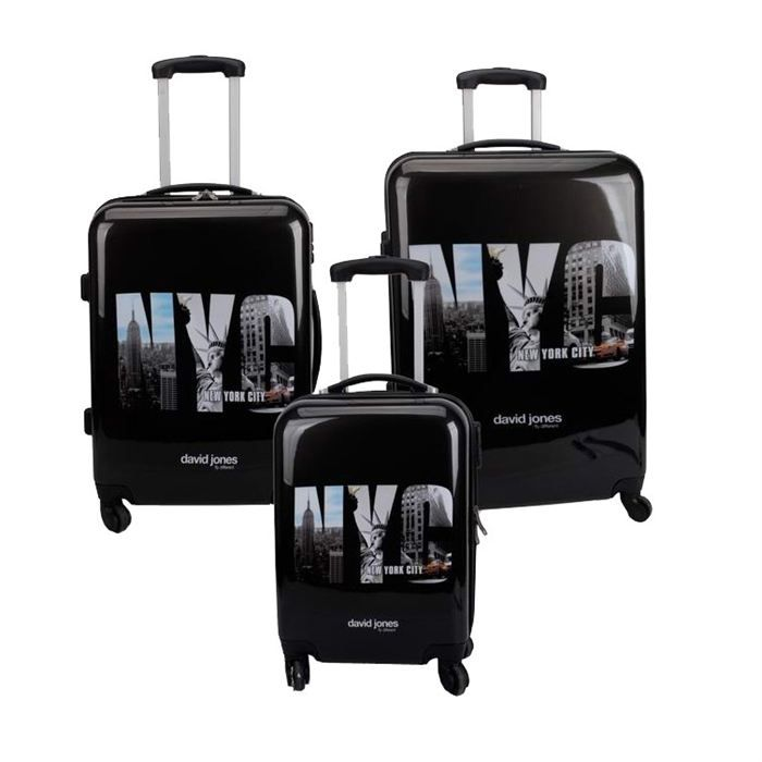 david jones set de 3 valises trolley 4 roues nyc noir achat vente set de valises. Black Bedroom Furniture Sets. Home Design Ideas