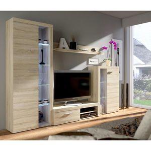 MEUBLE TV RUMBA Meuble TV contemporain décor chêne sonoma -