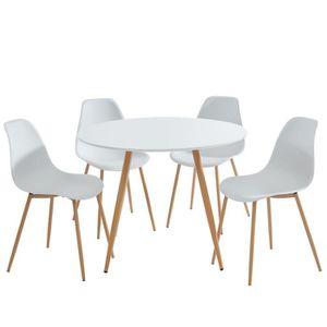 TABLE À MANGER COMPLÈTE MALMO Ensemble table à manger ronde Ø 100 cm + 4 c