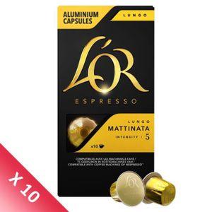 CAFÉ Lot de 10 - Café Capsules L'Or Espresso Lungo Matt