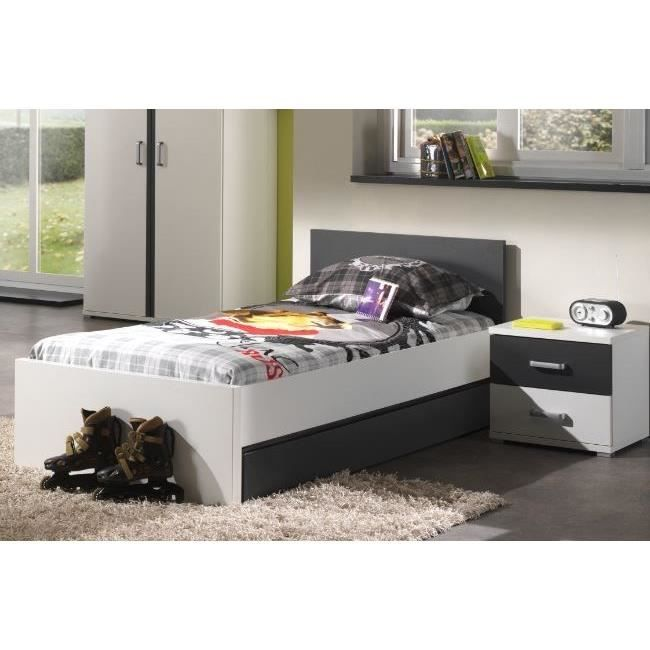josh ensemble lit chevet enfant anthracite achat vente chambre compl te josh ensemble lit. Black Bedroom Furniture Sets. Home Design Ideas