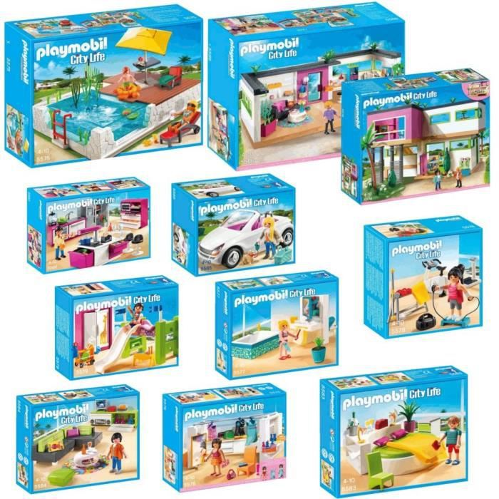 playmobil pack complet villa moderne achat vente univers miniature cdiscount. Black Bedroom Furniture Sets. Home Design Ideas