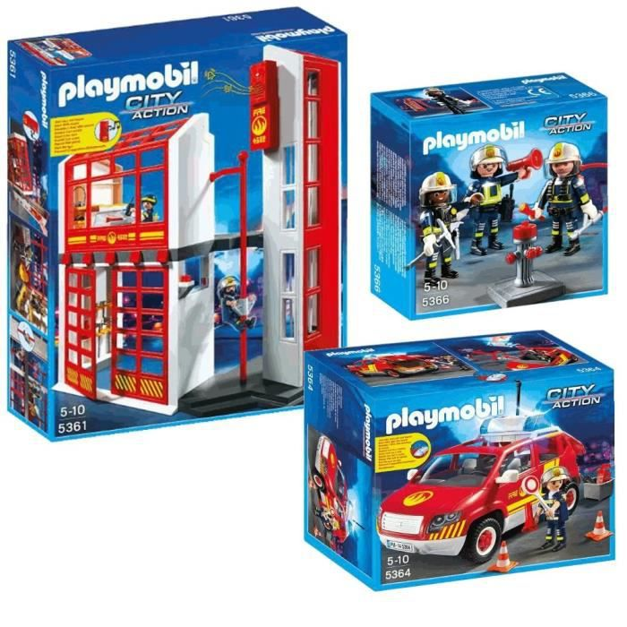 playmobil caserne pompiers v hicule avec sir ne achat vente univers miniature cdiscount. Black Bedroom Furniture Sets. Home Design Ideas