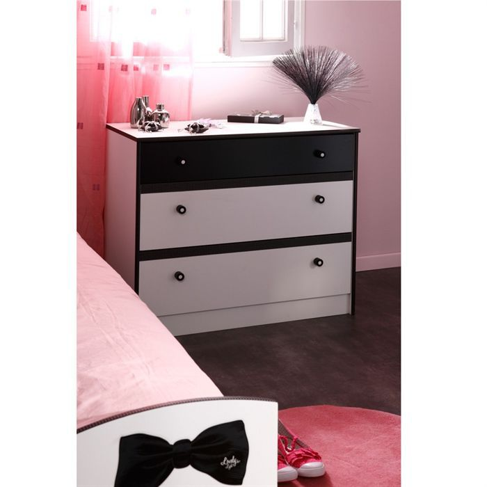 pretty commode 3 tiroirs blanc noir achat vente commode de chambre pretty commode 3 tiroirs. Black Bedroom Furniture Sets. Home Design Ideas