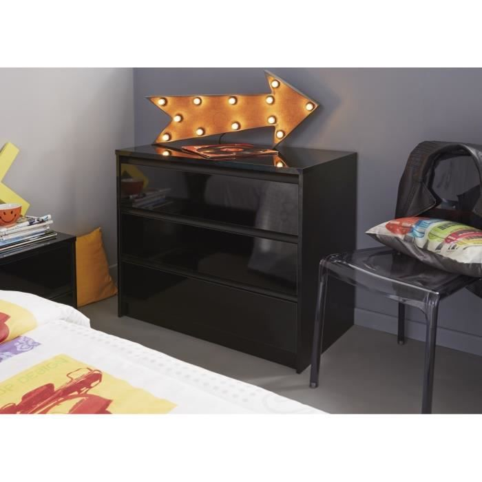 commode noir laque achat vente commode noir laque pas cher cdiscount. Black Bedroom Furniture Sets. Home Design Ideas