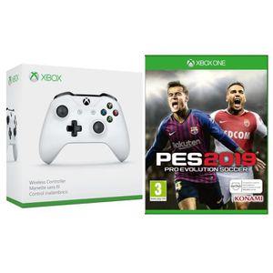 MANETTE JEUX VIDÉO Manette Xbox One sans fil blanche + PES 2019