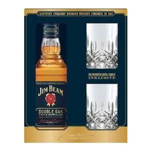 WHISKY BOURBON SCOTCH Jim Beam - Double Oak - Whisky - 2 Crystal Tumbler